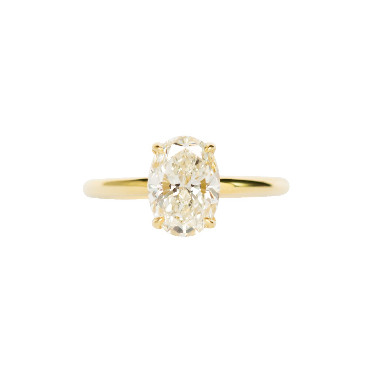 Oval Solitaire Setting With Diamond Basket In Yellow Gold