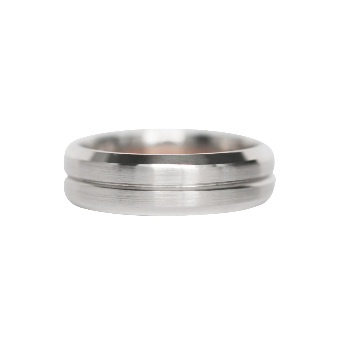 Men's Beveled Edge Wedding Band With Center Line Accent in White Gold (6mm)
