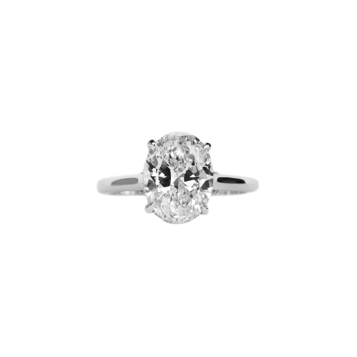 DBK Classic Solitaire Setting For Oval Center With Diamond Basket & Bridge In White Gold