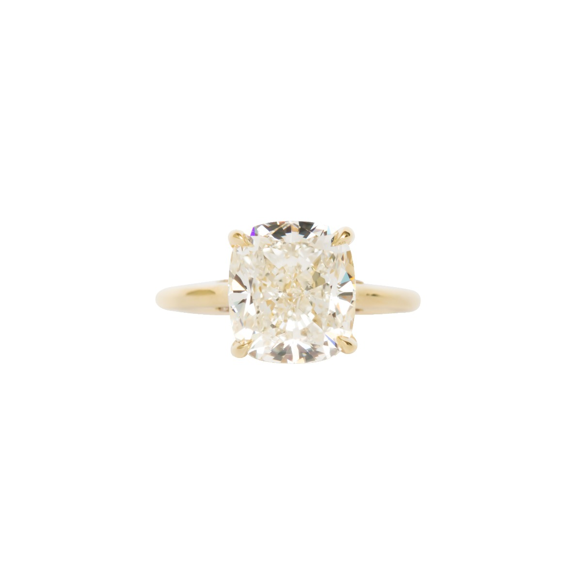 Cushion Cut DBK Classic Solitaire Setting With Diamond Basket & Bridge In Yellow Gold