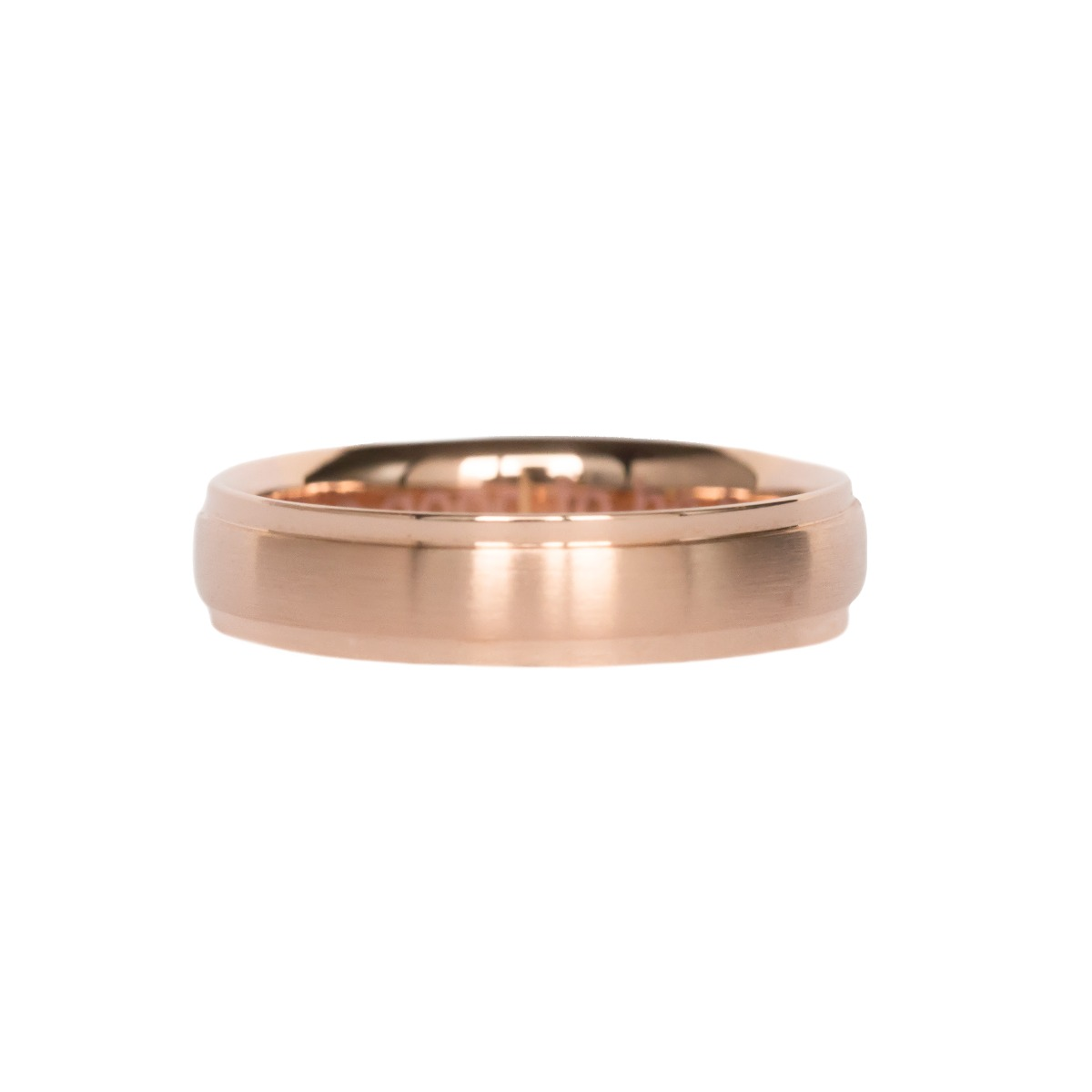 Men's Comfort Fit Wedding Band with Brushed Center and Shiny Edges in Rose Gold (5mm)