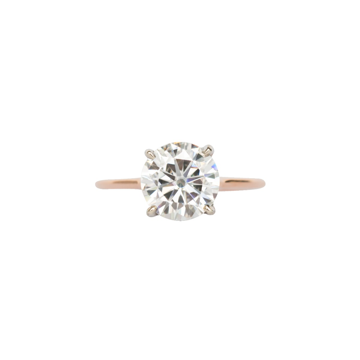 DBK Classic Solitaire Setting With Diamond Basket & Bridge In Two Tone