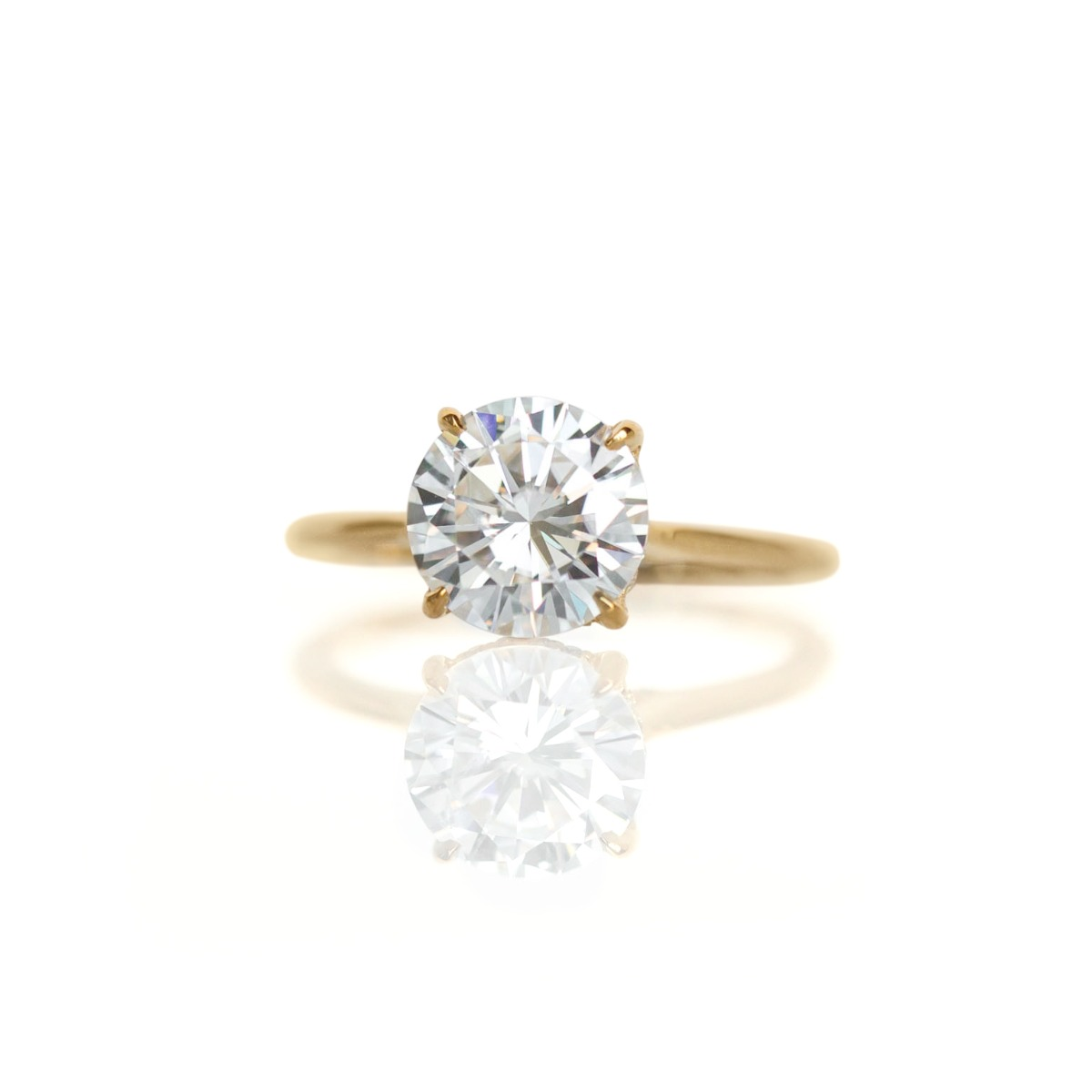 DBK Classic Solitaire Setting With Diamond Basket & Bridge In Yellow Gold