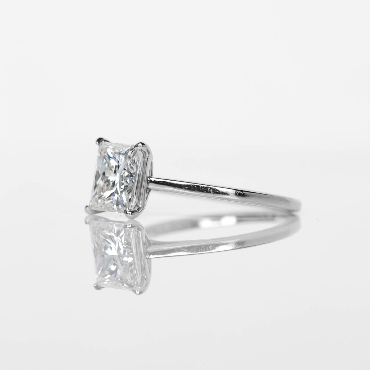DBK Classic Solitaire Setting For Princess Cut Center Stone in White Gold