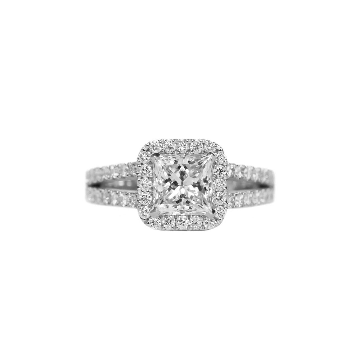 Halo Princess Cut Engagement Ring with Diamonds Along Split Shank in White Gold