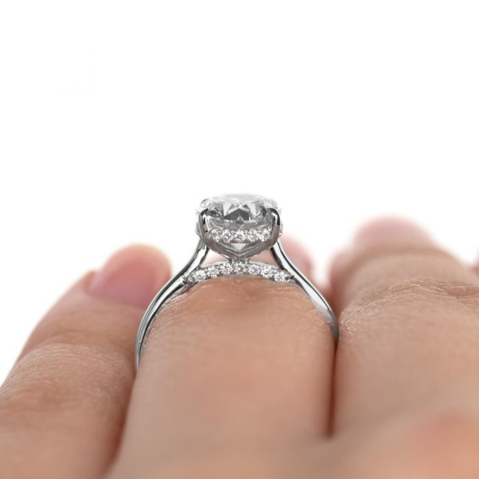 Dbk Classic Oval Solitaire Setting With Diamond Basket Bridge